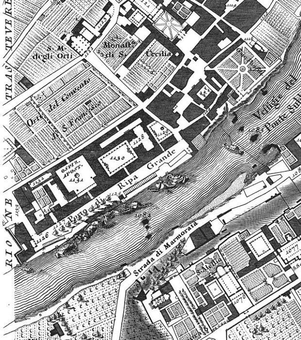 Giovanni Battista Nolli, Nuova topografia di Roma, San Michele e il porto di Ripa Grande, 1748.