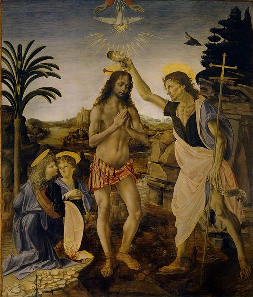 Leonardo - Verrocchio et al., Battesimo di Cristo, 1475 - 1478, Galleria degli Uffizi (Firenze)