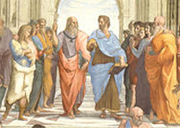 Raffaello Sanzio, Scuola di Atene (particolare), Platone e Aristotele, Musei Vaticani.